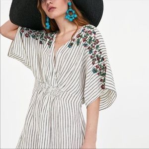 Zara Basic Embroidered Striped Cinched Coverup